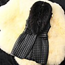 Womens Fashion High Grade Fur Collar Faux Leather Long Vest