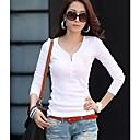 BZQ de la mujer de manga larga con cuello en V causual delgado de la manera camisetas