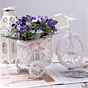 "8""H Modern Multicolor Orchids in White Basket Bike"