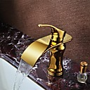 Ti-PVD Finish Brass Waterfall Golden Bathroom Sink Faucet