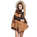 de manga larga de abrigos de tweed capote de las mujeres Lilai