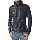 2014 nuevo invierno europa golpear solapa decoración de la cremallera chaqueta delgada de la PU de cuero de los hombres