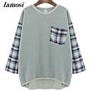 costura de la moda de las señoras flojas camiseta básica más la ropa del tamaño suéter ropa de maternidad de la camiseta de lamosiwomen