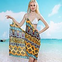 Womens Sexy Ethnic Print Halter Wrap Beach Cover-Up Dress