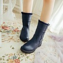 Womens Shoes Round Toe Wedge Heel Mid-Calf Boots with Zipper More Colors avaiable