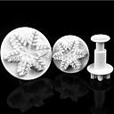 3pcs copo de nieve de la Navidad nace herramientas de modelado de la pasta de azúcar pastelera de plástico Stamper, dia6.5cm / 4.9cm / 3.4cm