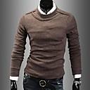cuello redondo de manga larga de algodón de color sólido camiseta básica de prendas de punto de ruilikemen