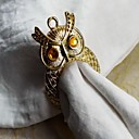 Gold Silver Owl Napkin Ring, Iron, 3.5CM, Set of 12