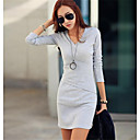 Womens Casual  V Neck Knitted  Long Sleeve Bodycon Dress