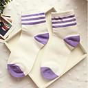 calcetines raya del caramelo del bromista de tres barras de algodón medias de Corea del Sur de la mujer zhuoshang a692 púrpura