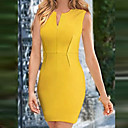 Xiuamp;vestido de color sólido v lápiz cuello de la mujer s