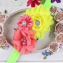 10pcs / niños establecidos tocado de rebabas gasa perla flores combinación del pelo de los bebés de los niños de la banda headwear color al azar