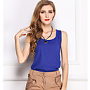 Anne Womens Round Collar All Match  Sleeveless Chiffon T Shirt