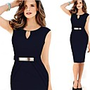 VICONE Women's All Match Solid Color V Neck Bodycon Sleevless Dress