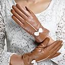 belle bowknot romántica guantes de piel de oveja suave de las mujeres