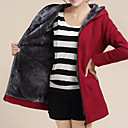 ajuste flojo de las mujeres Weishang causual de tweed con capucha camisa de manga larga