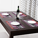 Set of 4 Purple and Red Stripe Placemats,PP,3040cm(1216 inch)