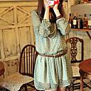 color sólido de las mujeres Weiyi todo vestido de gasa partido