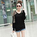 CCstory Women's Round Neck Batwing Sleeve Leopard Print T-Shirt