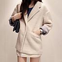 ajuste flojo de las mujeres Weishang tweed causual abrigo color sólido