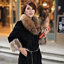 3/4 longitud pc023 abrigo de piel de la manga de las mujeres nina