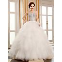 Ball Gown Strapless Floor-length Tulle Wedding Dress (HS320)