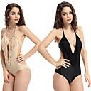 atractivo de una sola pieza de color nodo de la mujer qearl y color negro empujan hacia arriba el traje de baño de la borla
