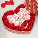 24 rosa corazón en forma de aceite esencial de rosa de la flor del jabón con las letras y el oso