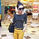 ? ? ™ 2014 nueva camisa de las mujeres de la moda franja camisa de manga larga de las mujeres