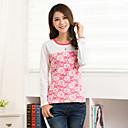 de manga larga de estampado floral de la camiseta de las mujeres Zura