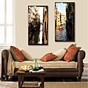 E-HOME Stretched Canvas Art City Canal Decorative Painting Set of 2