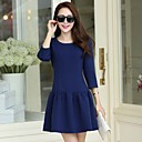 Womens Round Neck Solid Color New Style Dress(More Colors)