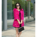 Baibian Women All Match Solid Color Fur Thermal Overcoat