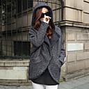 de manga larga con capucha abrigos de tweed de la moda delgado temperamento causual de la mujer Muyan