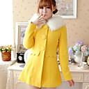 2014 nueva moda delgado abrigo de lana de un solo pecho de las mujeres Xinfu ™