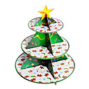Navidad verde tres capas de soporte de la torta de cartón