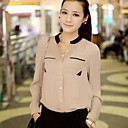 NUO WEI SI     Womens Contrast Color Stand Collar Chiffon Shirt