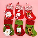 18cm navidad docorated calcetines con diferentes 6pcs de color (color al azar)