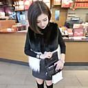 cuello redondo temperamento delgado de manga larga de las mujeres Jamesina causual espesar abrigos de piel de color de contraste
