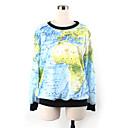 Weige azul mapa del mundo suéter de impresión wy1026 de las mujeres