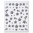 5PCS Black Five Pointed Star Top Grade Nail Art Stickers P16