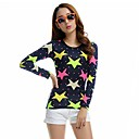 TS Womens Colorful Star Slim Cut Simplicity O Round Collar Plus Size Top T Shirt