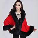 YDW Women's Fashion Fur Woolen Cloak Coat  SV009429 Red