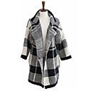 JYS Women's Long Sleeve Slim Fashion Lapel Neck Causual Temperament Check Tweed Overcoats