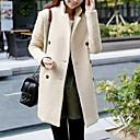 color sólido de doble botonadura abrigo de lana