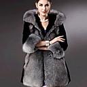 yifulu abrigos de piel con capucha elegancia temperamento delgado de la manera de la manga larga