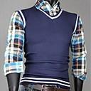Mens false two shirt collar sweater