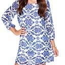 Womens  White and Blue Porcelain Florals Print Dress