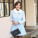 Womens Fur Collar Lace Long-sleeve Trench Coat