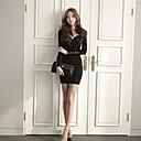 One Xuan Womens Sexy Long-Sleeved Nail Bead V-Neck Slim Night Club Package Buttocks  Show Thin Dress